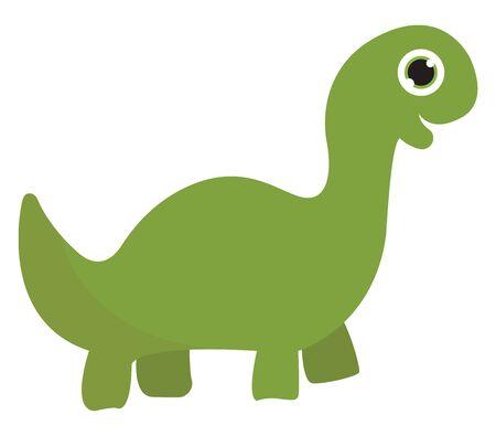 A cute giant green dinosaur vector color drawing or illustration Ilustração