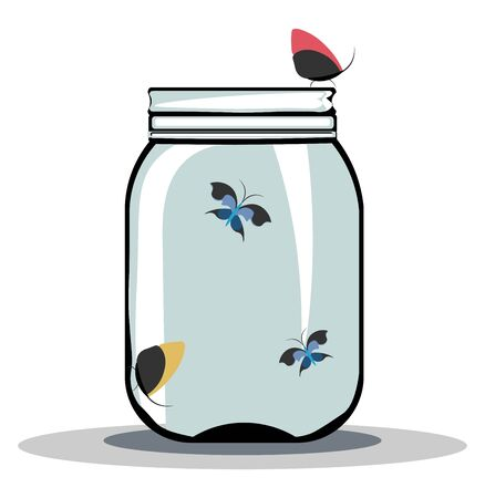 A jar of colorful butterflies with a closed lid vector color drawing or illustration 일러스트