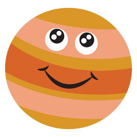A sketch of a big planet called Jupiter with a smiley vector color drawing or illustration