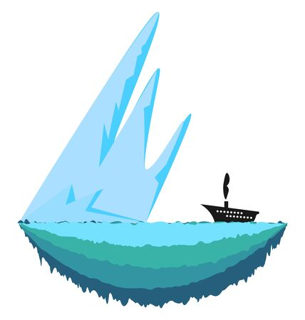 Sharp and big ice berg and a ship travelling towards it vector color drawing or illustration Stock Illustratie