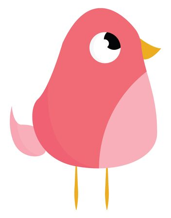 A cute fat pink bird with yellow legs and yellow beak vector color drawing or illustration
