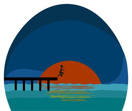 A beautiful sunset spot with a boy diving into the ocean vector color drawing or illustration