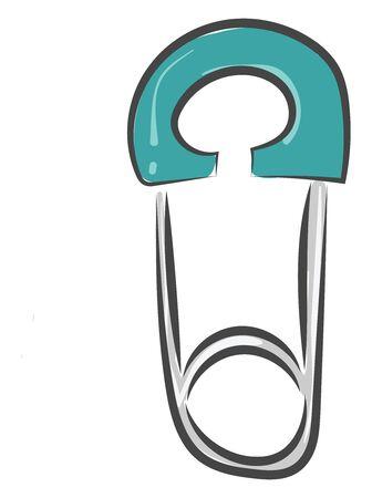 A long safety pin in blue color vector color drawing or illustration Ilustração