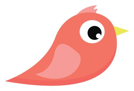 A small cute pink bird with yellow bird vector color drawing or illustration
