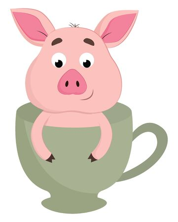 A cute pink baby pig in a tea cup vector color drawing or illustration Ilustrace