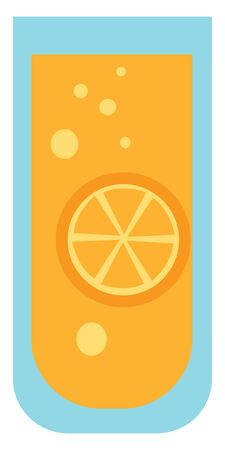 A glass of freshly prepared lemon juice vector color drawing or illustration