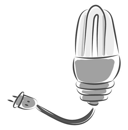 A small light bulb with a cable to connect to the electricity vector color drawing or illustration