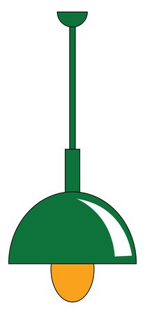 A long light in green color with yellow bulb vector color drawing or illustration  イラスト・ベクター素材