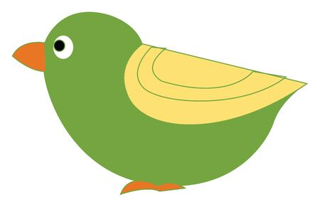 A little green bird with yellow feathers vector color drawing or illustration