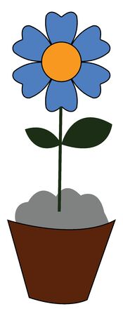 A little blue flower on a brown pot vector color drawing or illustration