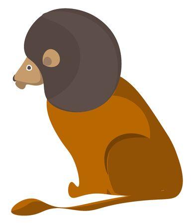 Un dessin animé d'un lion assis avec un grand dessin ou une illustration en couleur de vecteur de visage