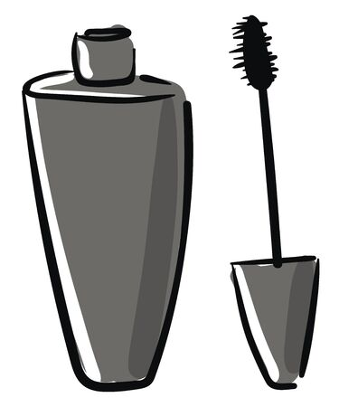A big container of black mascara for beautiful eyes vector color drawing or illustration