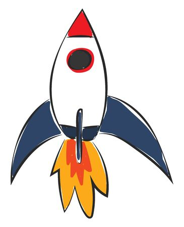 A flying little rocket with red nose giving out red hot flame vector color drawing or illustration Vectores