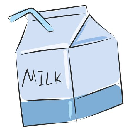 A container of milk in plastic with a straw vector color drawing or illustration