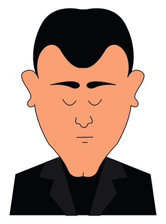 A man in full black dress with his eyes closed vector color drawing or illustration