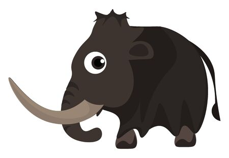 A cute small mammoth with a very big tusk vector color drawing or illustration