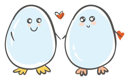 love of two cute boiled eggs holding hands vector color drawing or illustration 向量圖像