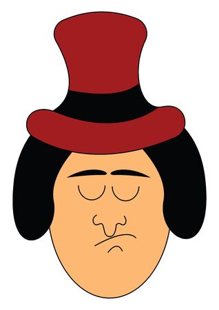 A sad man with a long red hat with closed eyes vector color drawing or illustration