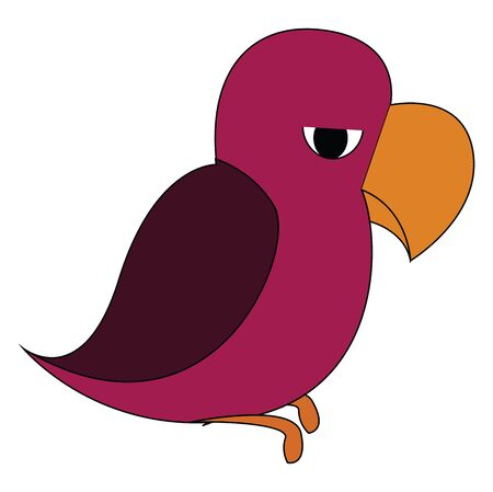 A parrot in purple color which is sad and mad on others vector color drawing or illustration