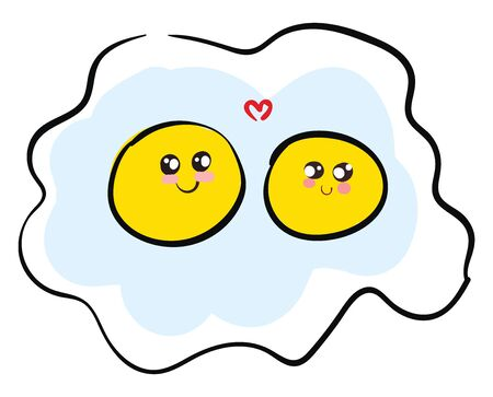 Love of two eggs in an omelet vector color drawing or illustration