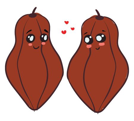 A cute love between two beautiful cacaos with small red hearts around them vector color drawing or illustration