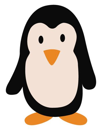 A cute penguin standing and watching vector color drawing or illustration