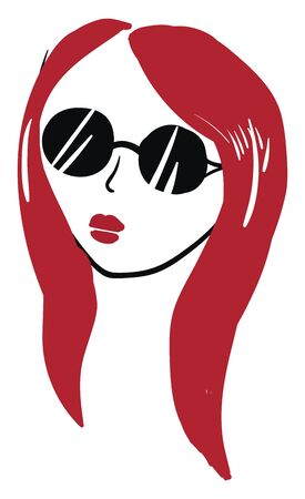 A cute girl with long red hair wearing a black glasses vector color drawing or illustration Çizim