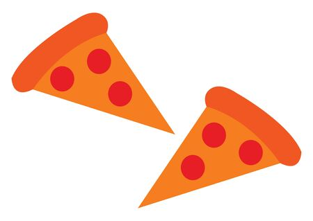 A piece of tasty orange pizza vector color drawing or illustration