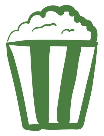 A green and white striped cup full of popcorn vector color drawing or illustration