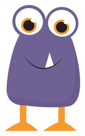 An ugly purple monster with orange legs and a pair of big projected eyes vector color drawing or illustration 일러스트