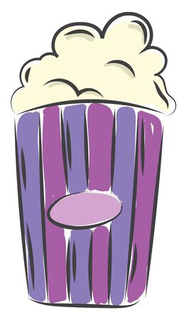 A striped blue and violet cup full of popcorn vector color drawing or illustration Illusztráció
