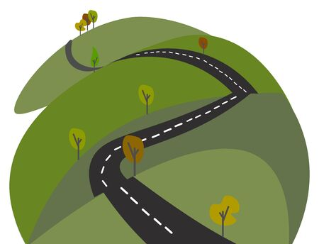 A long stretching road with beautiful green bushes on both the sides vector color drawing or illustration Illusztráció