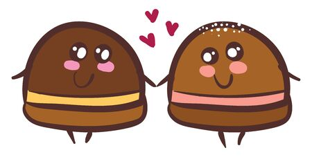 Two sweet chocolate truffles holding hands in love vector color drawing or illustration Иллюстрация