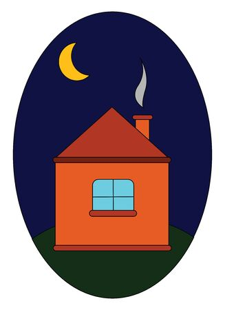 A portrait of a dark night with a house and moon vector color drawing or illustration