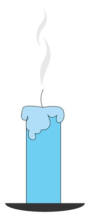 A single beautiful candle in blue color vector color drawing or illustration
