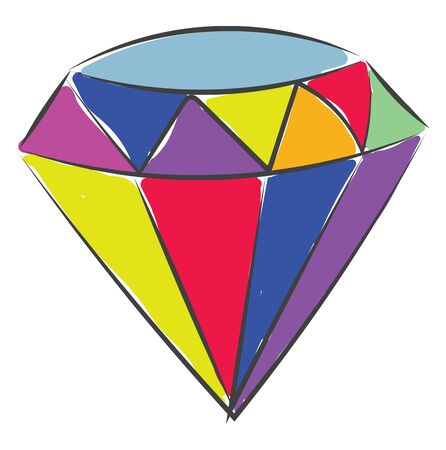 A diamond with lot of colors in it vector color drawing or illustration