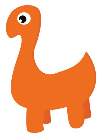 A cartoon of orange dinosaur without any other color vector color drawing or illustration Ilustração