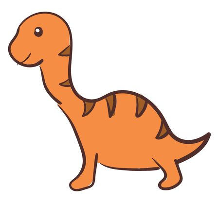 A small cute dinosaur in orange color which is very young vector color drawing or illustration