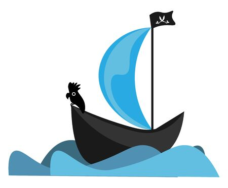A black pirate ship with pirates flag flying high vector color drawing or illustration 일러스트