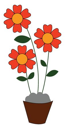 A bunch of red flowers with green leaves on a brown pot vector color drawing or illustration Çizim