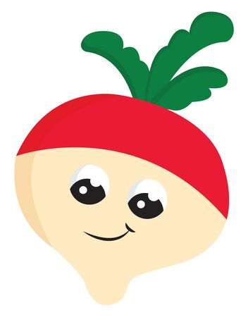 A cute radish with a pair of eyes and green leaves vector color drawing or illustration Illusztráció