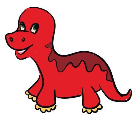 A cute little red dinosaur vector color drawing or illustration Ilustração