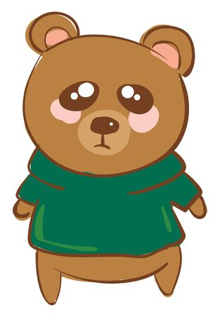 A sad brown teddy bear wearing green t-shirt vector color drawing or illustration