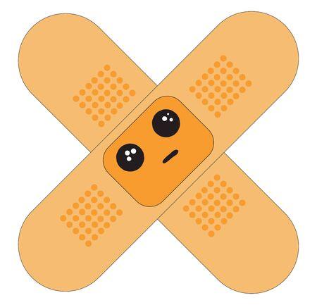 An orange color plaster looking sad vector color drawing or illustration