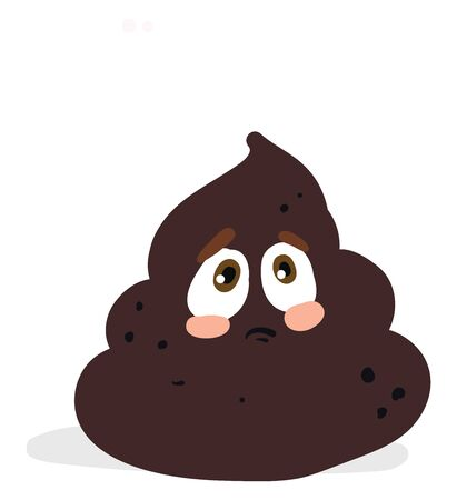 A grey poop looking sad with its brown eyes vector color drawing or illustration Illustration