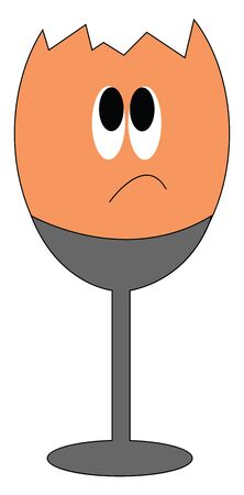 An orange broken sad egg on a grey stand is about to cry vector color drawing or illustration