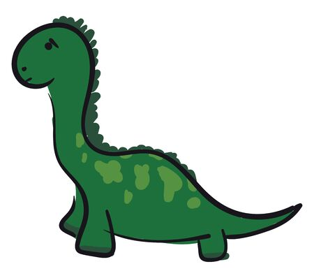 A sad big green dinosaur with horns vector color drawing or illustration