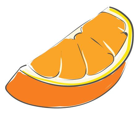 A piece of orange which is sweet vector color drawing or illustration Vettoriali