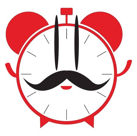 A red-colored cartoon alarm clock looks cute with its big mustache and rosy lips  vector  color drawing or illustration