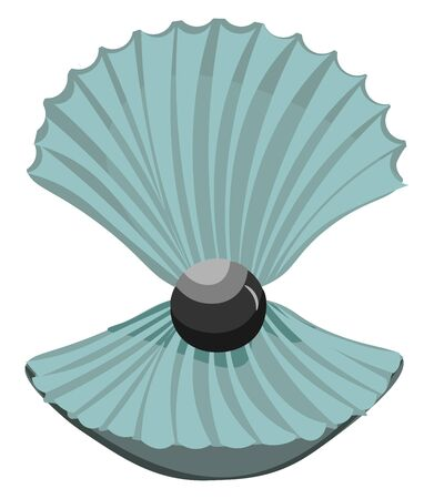 A cute black pearl in a open shell vector color drawing or illustration